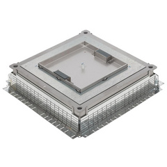 Plate for metal inscreed floor box IP 30 with 2 lateral cable exits