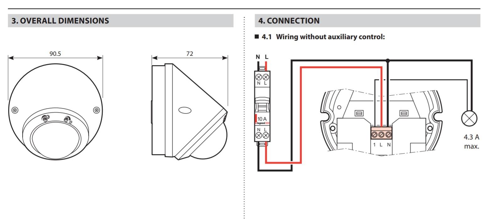pir ip 55 surface-mounting motion sensor - 360 u00b0