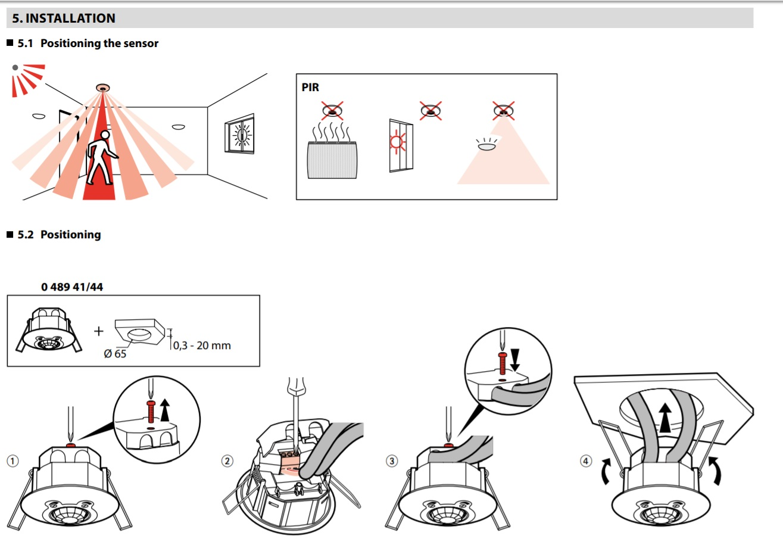 ir ip 20 ceiling-mounting motion sensor - 360 u00b0