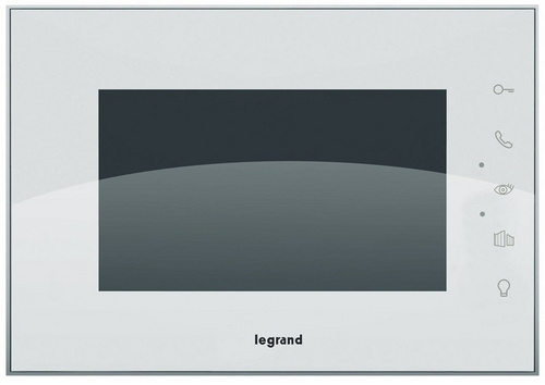 "Surface VIDEO INTERCOM LEGRAND and surface handsfree internal white video unit with a 7"" colour display, reflective glass surface"